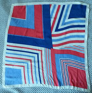 Carre-en-soie-Vintage-Christian-Dior-Bleu-Blanc-Rouge-motif-geometrique