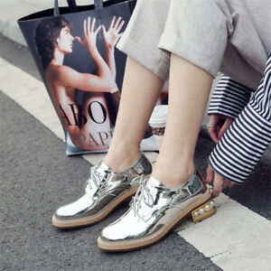 SWomen-039-s-Fashion-Flat-Heel-Patent-Leather-Oxfords-Shoes-Casual-Lace-Up-Shoes-New