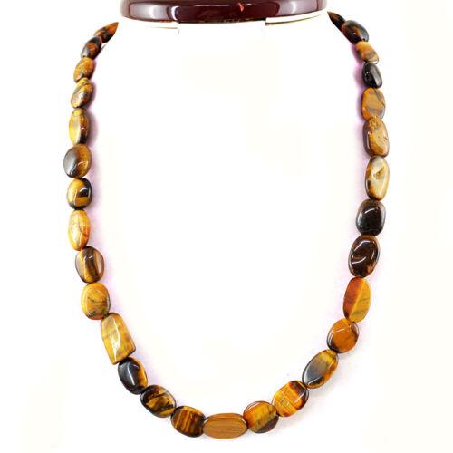 Natural Golden Tiger Eye un seul brin mixte forme perles fait main collier