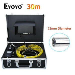 "Eyoyo 30M 7"" LCD 23mm Pipe Pipeline Drain Inspection Sewer Camera CMOS 1000TVL"
