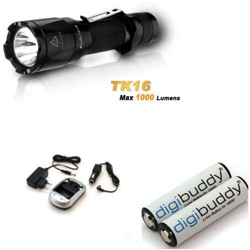 Fenix TK16 XM-L2 U2 LED 1000 Lumen + 2x Akku 18650 Li-Ion + Ladegerät + KFZ
