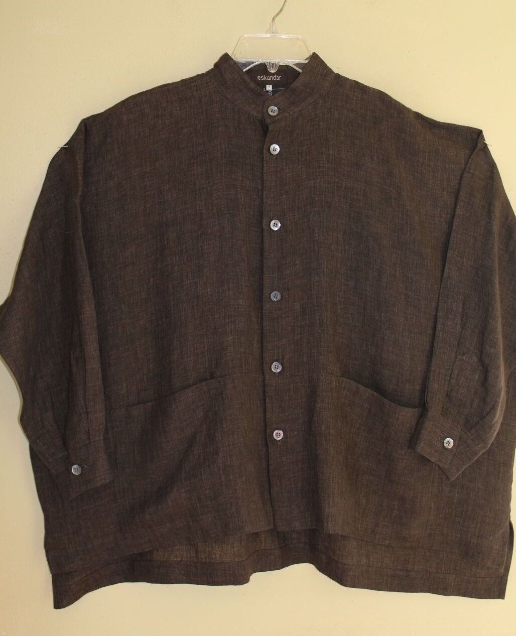 Eskandar Cocoa braun Denim Linen Pocketed OverGrößed High Low Shirt Sz 0