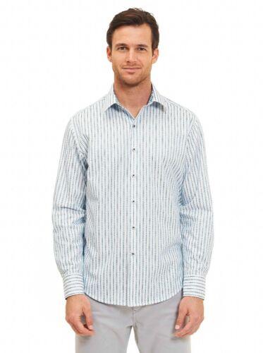 Robert Graham Vignesh L/S Printed Sport Shirt, Big Fit, White