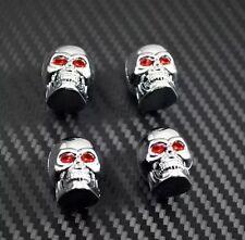 4 Pack Cool Rock N' Roll Chrome Skull Car Tyre Valve Dust Caps Tire Wheels Bike