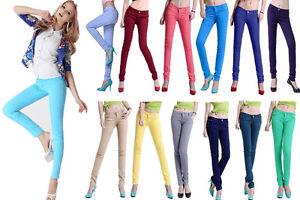 b84a1682b865c Image is loading New-Women-Skinny-Slim-Coloured-Denim-Stretch-Jeggings-