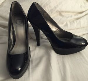pretty cheap stable quality differently Details about G by Guess Black Patent Leather Glitter Platform Pumps High  Heels - 5