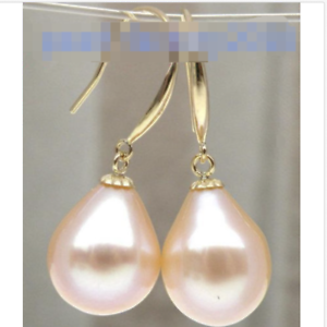 Charming 12-13mm south sea baroque gold pink dangle pearl earring14k