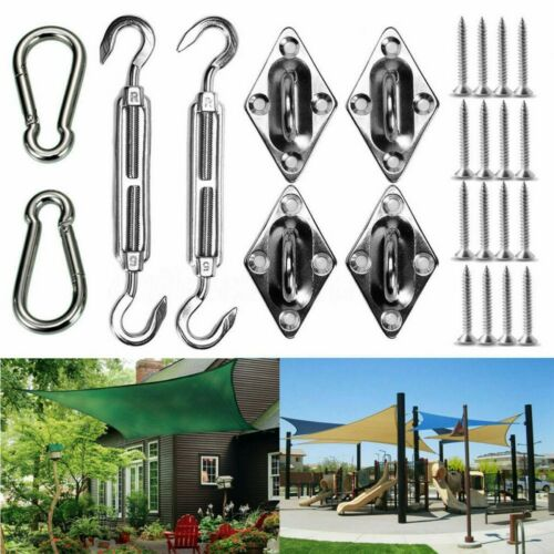 Sun Shade Sail Canopy Accessory Stainless Steel Hardware Kit Clip Hook Screws UK