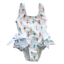 UK Toddler Kid Baby Girl Swimwear Ice Cream Bow Bikini Swimsuit Swimming Clothes