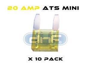 FREE SAME DAY SHIPPING! 20 PCS 10 AMP ATS//ATC MINI BLADE 12V AUTOMOBILE FUSE