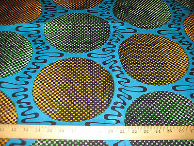 """Veritable Real Wax African Print 100% Cotton Fabric 46"""" W BTY 6034"""