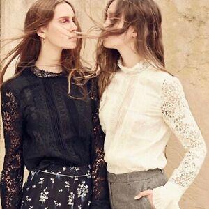 Details about Erdem X H&M Black 100% Silk Floral Lace Victorian Blouse Top Shirt 2 XS Rare