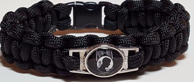 Prisoner of War Black Handmade Paracord Military Bracelet with POW MIA Emblem