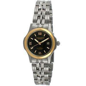 Women-039-s-Two-Tone-Steel-Analog-Wrist-Watch-w-Black-Dial-Bracelet-By-Timetech