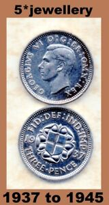 50% silver 3d Three Pence coins George 6th 1937 - 1945 Grade Fine to UNC