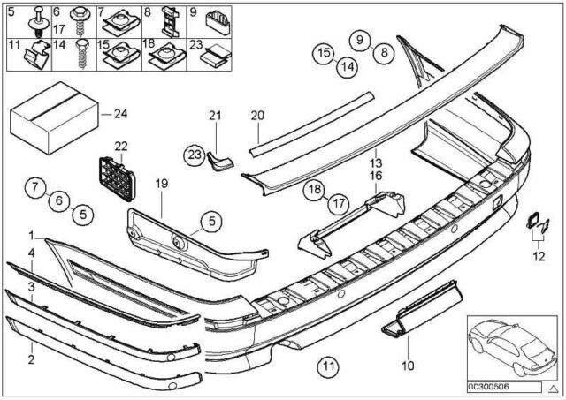 Original BMW 51128184512 - Stossleiste hinten rechts CHROM 5er
