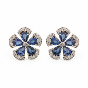 Genuine-Blue-Sapphire-Gemstone-Flower-Stud-Earrings-Diamond-14k-White-Gold-Fine
