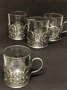 Set of 4 Glass Cup in Metal Silver Filigree Small Flowers Stud Pewter Holder