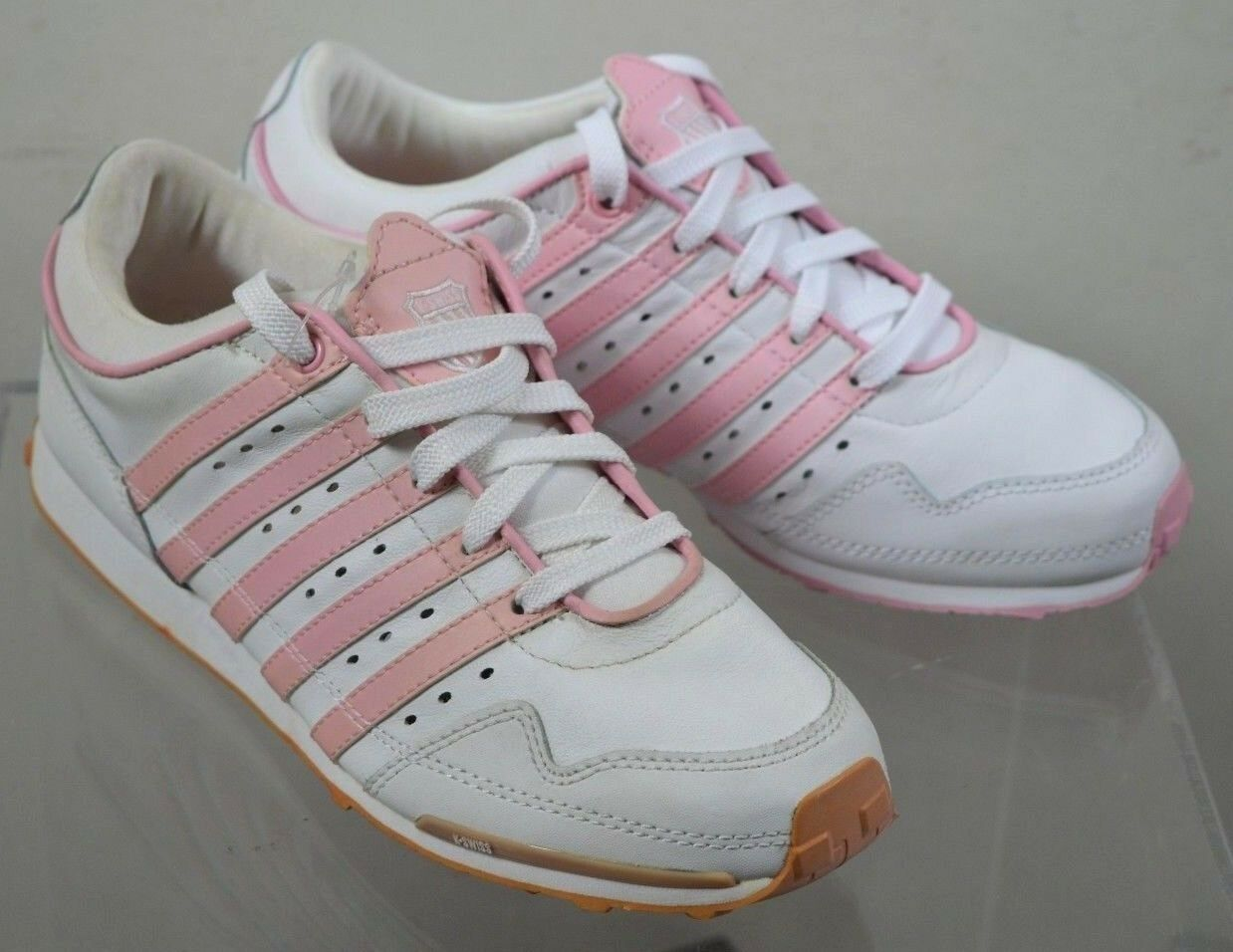 K-SWISS White Pink Gorzell Low UK Trainers Women's Size 4 UK Low 03444a