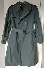 Vintage Raincoat Military Army Officer Coat Green Quarpel  Cotton/Nylon Belted