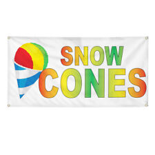 Vinyl Banner Multiple Sizes Snow Cones Rainbow Food Bar Restaurant Truck Outdoor