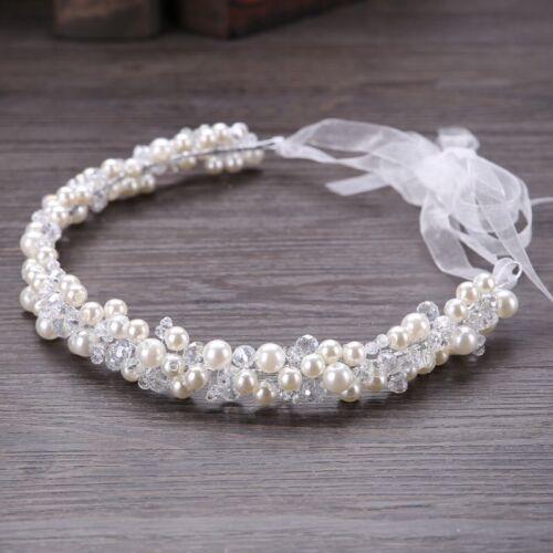 Bridesmaids Bridal Ivory Pearl Crystal Bead Vintage Hair Vine Tiara Headpiece