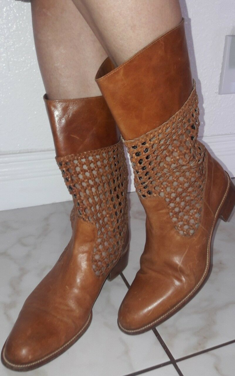 SARTORE Paris Western Cowboy Pull-on Ankle Stiefel Braun Leder sz 38.5