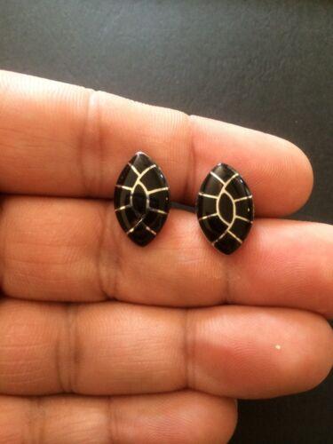 Navajo Native American Black Onyx Cuff Links Betty Yonce Cufflinks Stunning