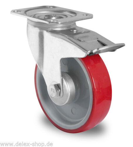 Transportrolle Lenkrolle 80 mm Polyurethanbereifung Rollenlager Anschraubplatte