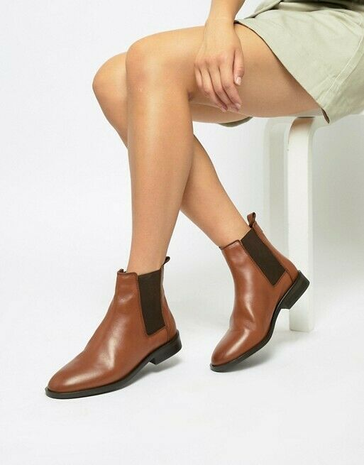 ASOS DESIGN WOMENS BROWN AURA LEATHER CHELSEA ANKLE BOOTS SIZE 6