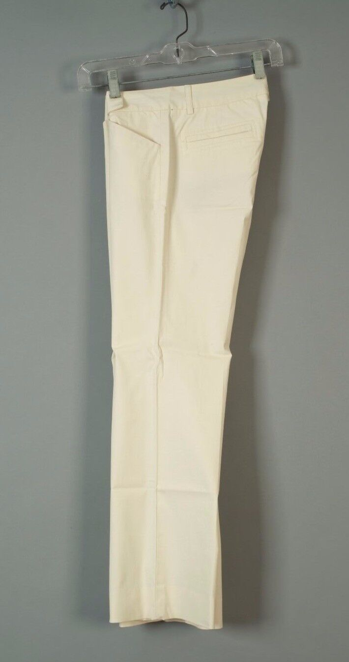 THEORY   0   Cream Ivory Stretch Flat Front Trousers Cotton Blend Dress Pants
