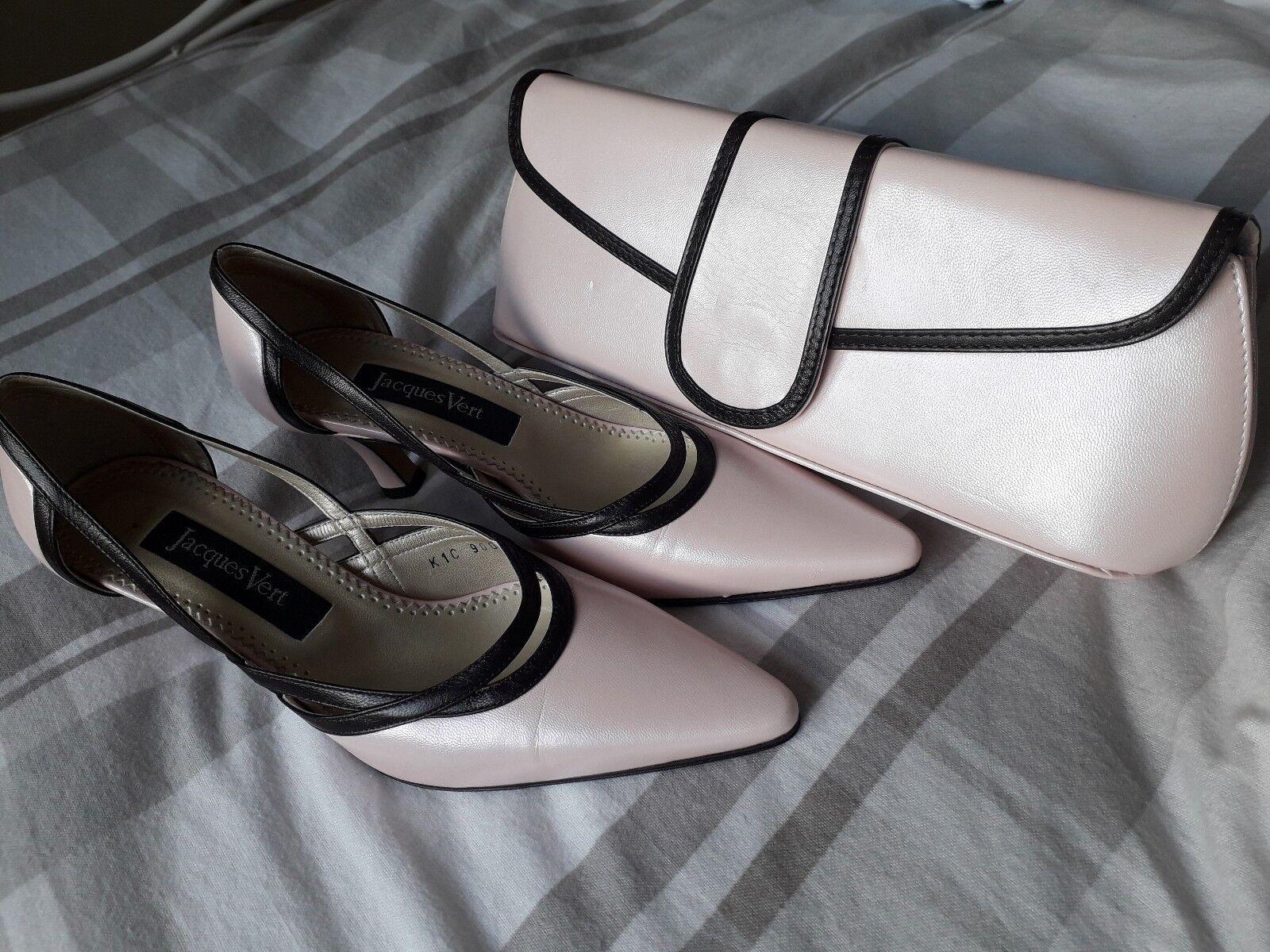 Jacques verde en rosado rosado rosado Zapatos Con Ribete Marrón Y Bolsa De Embrague que empareja  venta