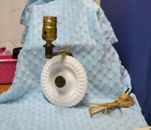 VINTAGE ROUND MILK GLASS SCOUNCE LAMP