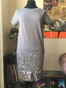 Tamaño de suéter Rpp Bnwt gris estilo lentejuelas Vestido 255 pequeño Pierlot Claudie SOYq8Y5