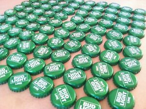 Lot Of 100 Used Bud Light Lime Beer Bottle Caps NO DENTS//Craft//Collectible Green