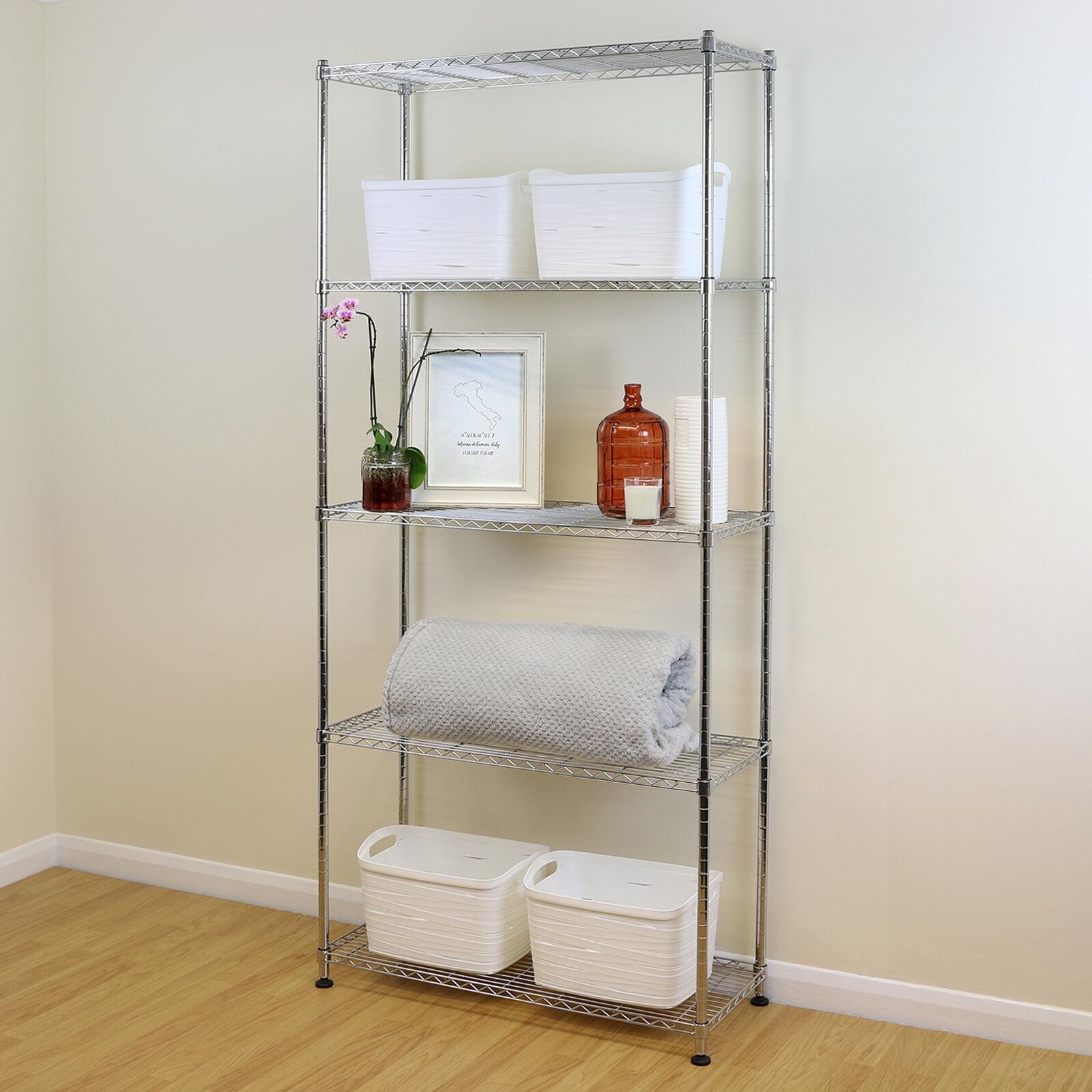 5 niveau chrome métal étagère de rangement étagère fil étagère cuisine bureau unité 200cm