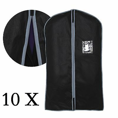 10x New Set Of Blk Peva Garment Suit Covers Clothes Dress Shirt Cover Travel Bag