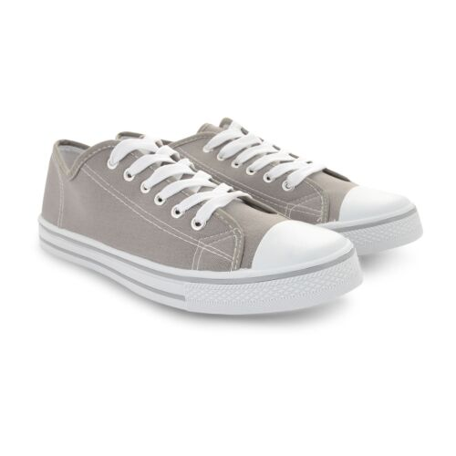 Sport Casual Mens 7 plat gris 12 toile chaussures Pompes taille Trainer Sneaker Plimsoll pompes wrIIZXq