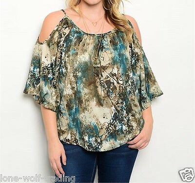 Ladies Plus Size Brown Teal Off the Shoulder Top-PT6-CN263553