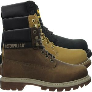 Details About Caterpillar Colorado W Black Honey Brown Womens Booties Boots Leather New
