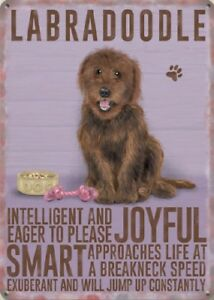 BROWN-LABRADOODLE-DOG-ANIMAL-METAL-SIGN-PLAQUE-PICTURE-OTHER-BREEDS-LISTED-1301