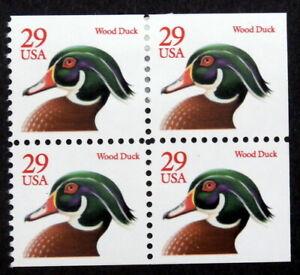 USA 1991-95 : FLORA & FAUNA - WOODEN DUCK, SCOTT #2485 (BOOKLET BLOCK OF 4)