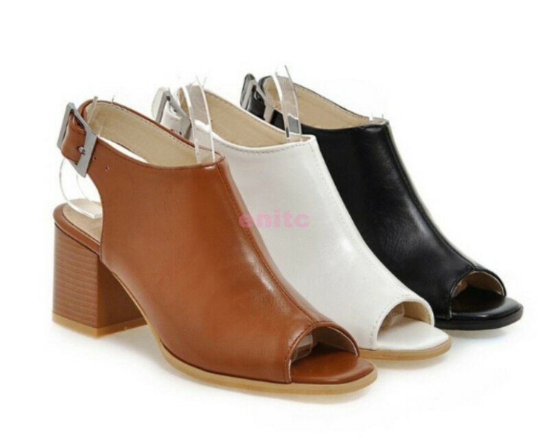 Fashion Peep Toe Block Chunky Heel Roman Women Ankle Sandal Boots shoes 016