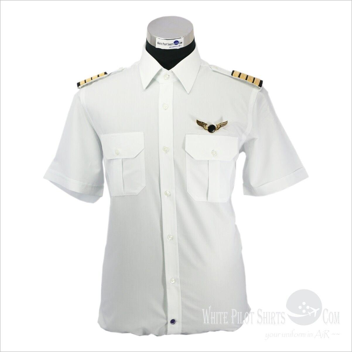 White Pilot Shirts Aviator Uniforms Easy to iron Airmen Security Aviation Mens