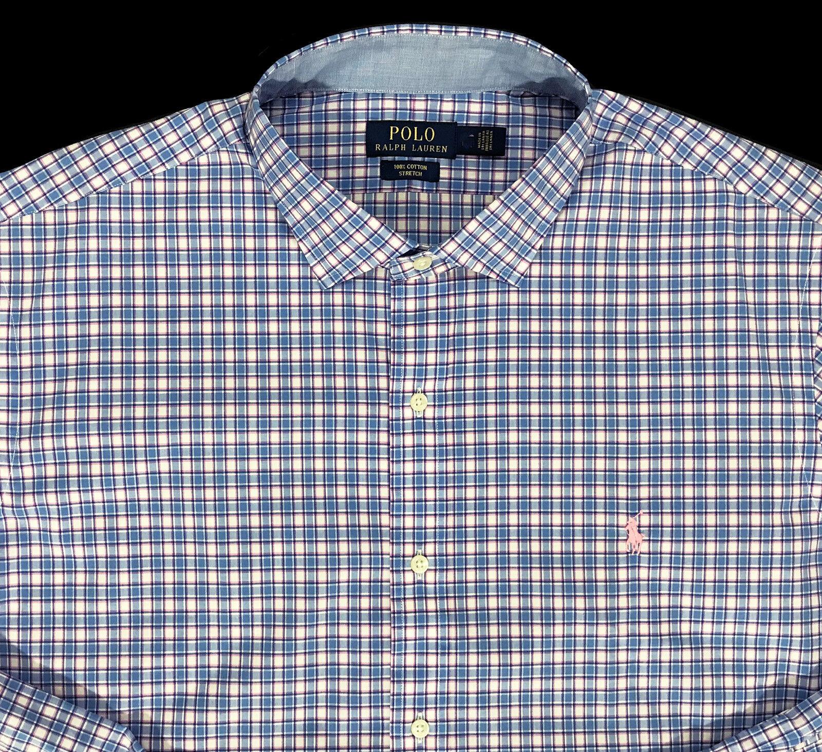 Men's RALPH LAUREN bluee Pink White Shirt Cotton Stretch 2XB 2X 2XL BIG NWT NEW