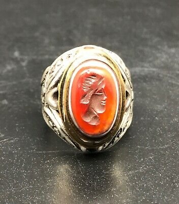 Antique Silver Soild Ring With Ancient Agate Stone Roman King Face Intagilo