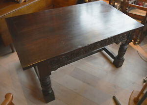 1920s-solid-oak-carved-Oak-Refectory-dining-Table-with-Turned-Legs-and-H-frame