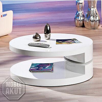 Couchtisch Mogly Beistelltisch Tisch in weiß hochglanz drehbar 80 cm