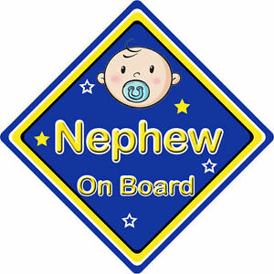 Non Personalised Child//Baby On Board Car Sign ~ Nephews On Board ~ L.Blue
