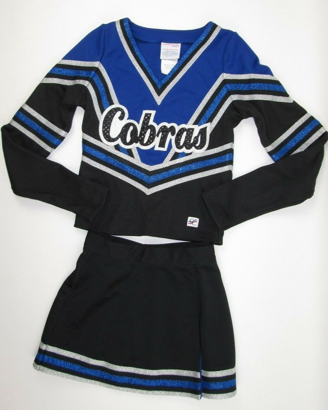 NEW COBRAS Cheerleader Uniform Outfit Costume   ld M 30  Top 22 Skirt Sparkle  factory outlets